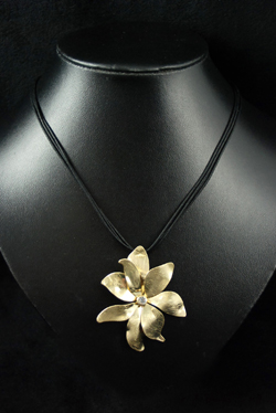 Brushed Metal Flower Cord Necklace