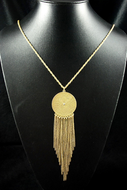 Gold Disc & Tassel Drop Pendant