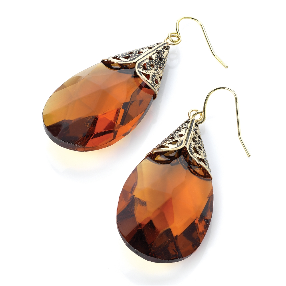 Topaz Oval Drop Earrings