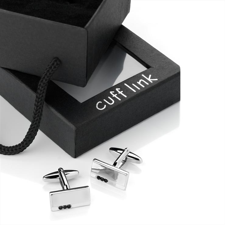 Rhodium Jet Rectangular Cufflinks