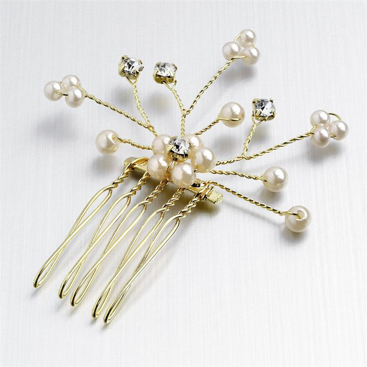 Gold Crystal Pearl Spray Comb