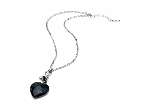 Black Glass Heart Pendant