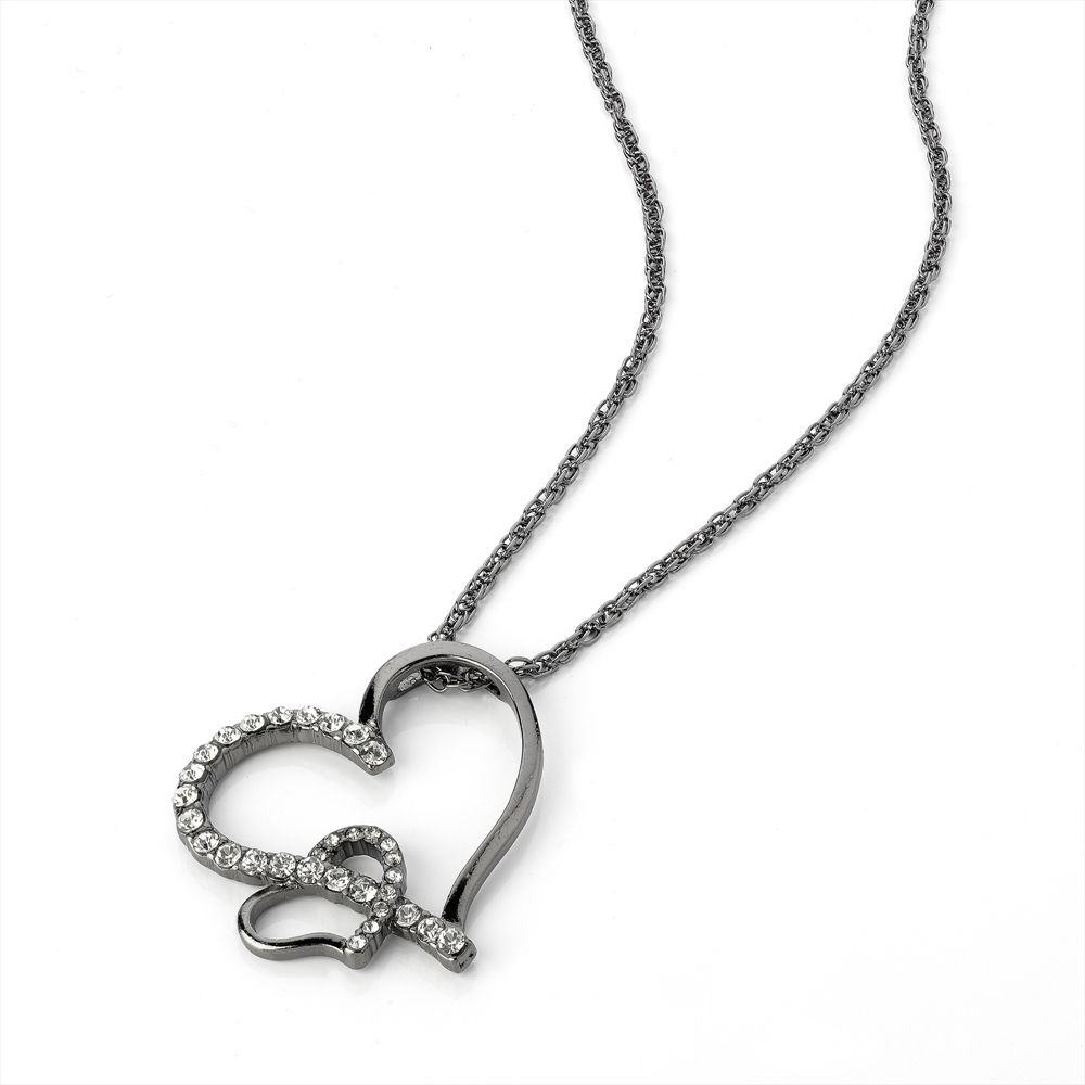 Hematite Effect Double Heart Necklace