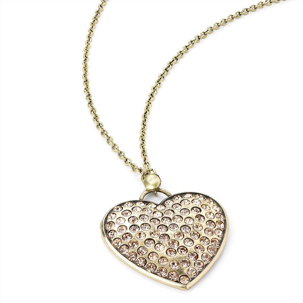 Antique Gold Crystal Heart Pendant