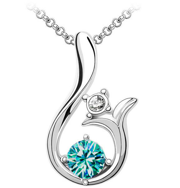 Curved Crystal Pendant Necklace Blue