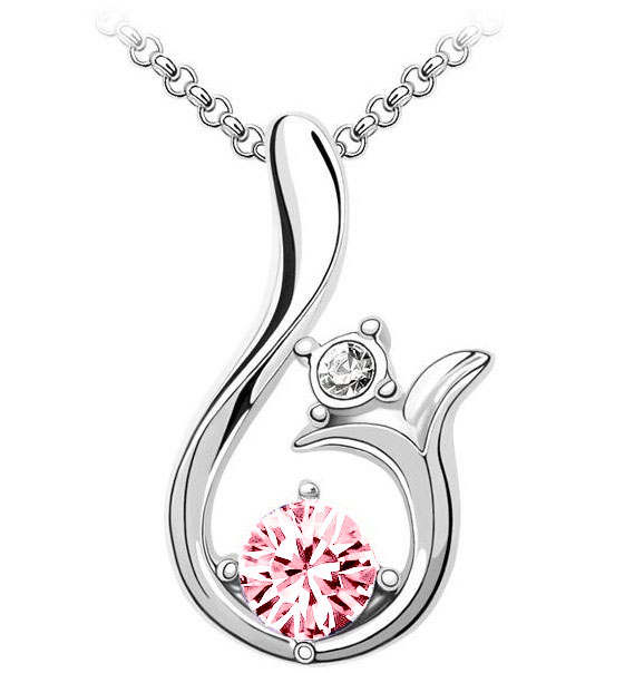 Curved Crystal Pendant Necklace Pink