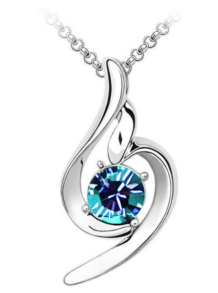Swirl Pendant Crystal Necklace Blue