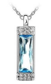 Small Crystal Drop Pendant Necklace Blue