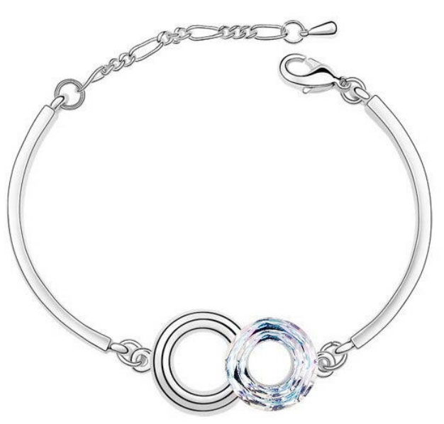 Round Crystal Charm Bracelet Clear